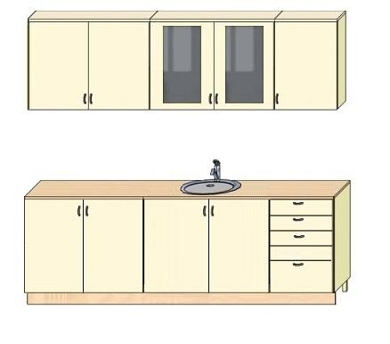Схема модулей кухни 2 метра