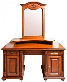 Туалетный столик Элеонора стиль Элизабет двухтумбовый с зеркалом и надставкой