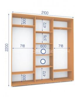 Шкаф-купе Сич ШК 27/22-3Ф/2П (2100х450х2200)