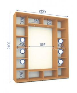 Шкаф-купе Сич ШК 27/24-3Ф/1П (2100х450х2400)