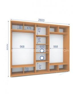 Шкаф-купе Сич ШК 32/22-3Ф (2600х600х2200)