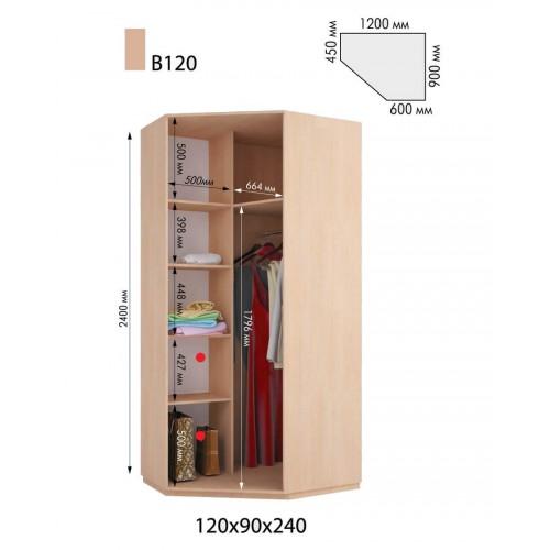 Шкаф-купе угловой В 120 (1200х900х2400)