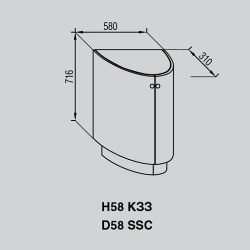 Кухонный модуль Валенсия Н 58КЗЗ