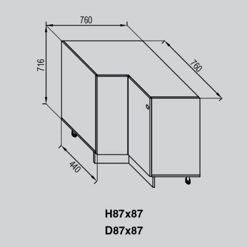 Кухонный модуль Валенсия Н 87×87