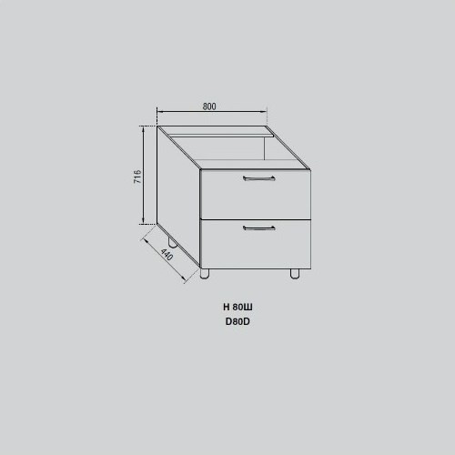 Кухонный модуль Адель Н 80Ш
