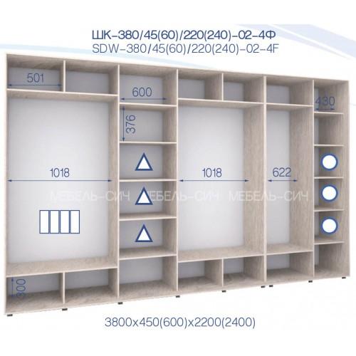 Шкаф-купе ШК 380/60/2400-02-4Ф