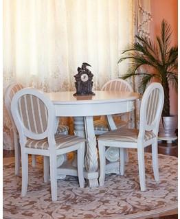 Комплект обідній Елеонора стиль Зефір +4 стільця Людовік