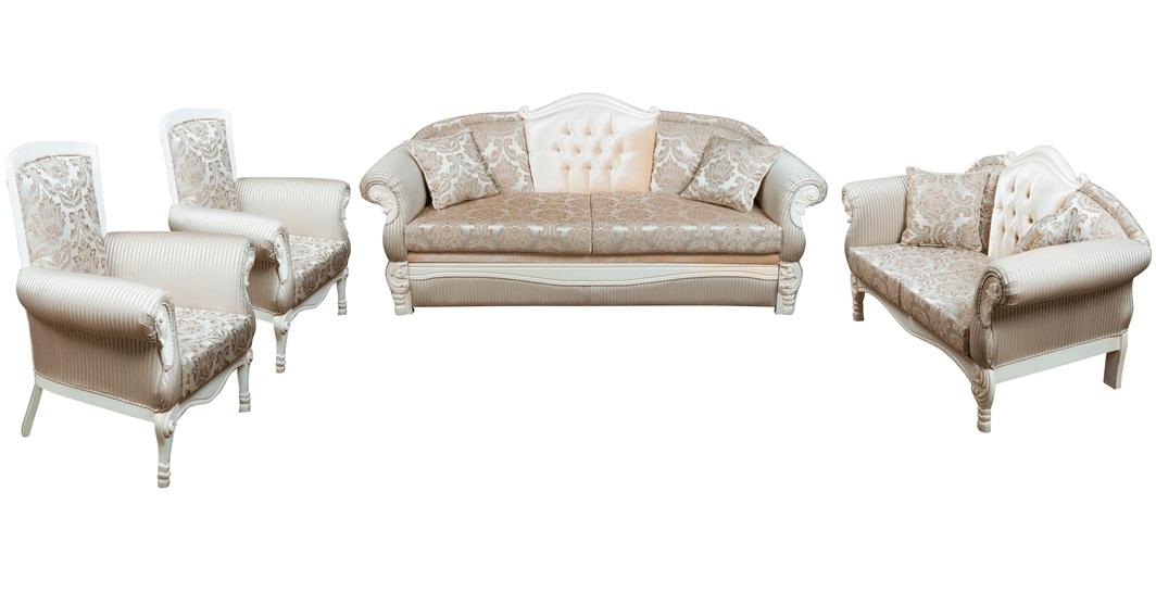 Комплект мягкой мебели Эсма белое дерево
