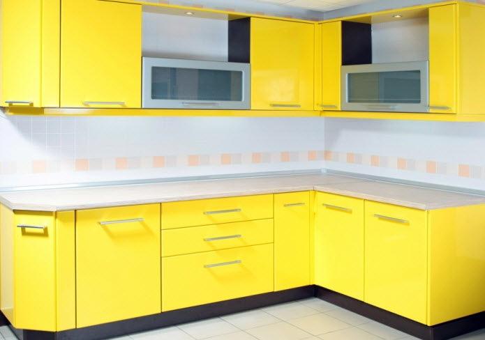 Кухня Калабрия желтый глянец