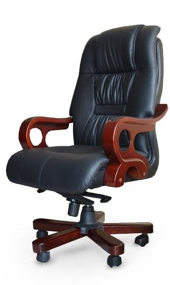 Кресло руководителя Дерби (кожа, дерево)