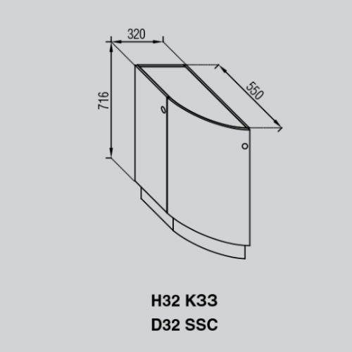 Кухонный модуль Валенсия Н 32КЗЗ