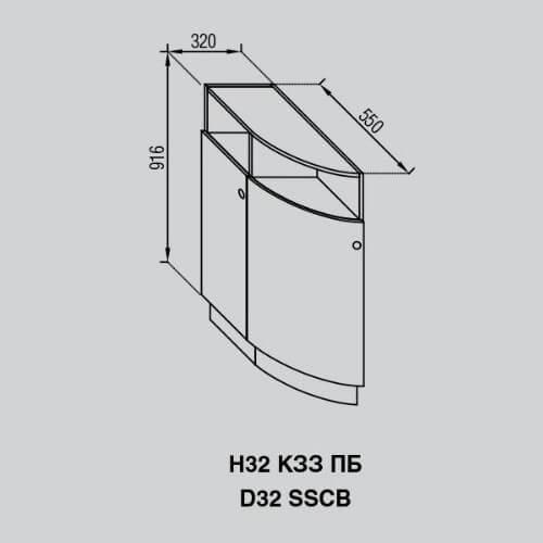 Кухонный модуль Валенсия Н 32КЗЗ ПБ