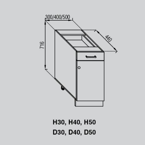 Кухонный модуль Валенсия Н 40