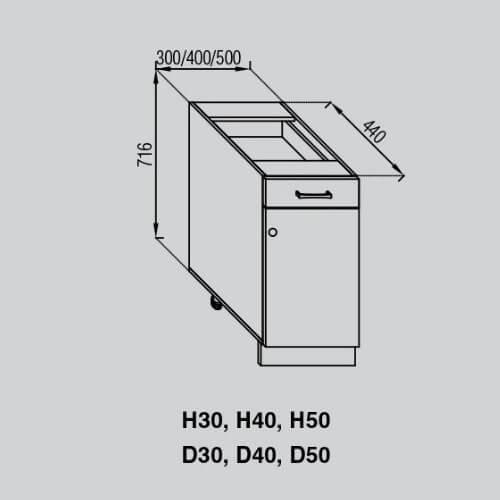 Кухонный модуль Валенсия Н 50