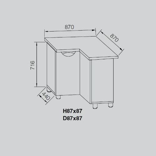 Кухонный модуль Адель Люкс Н 87х87