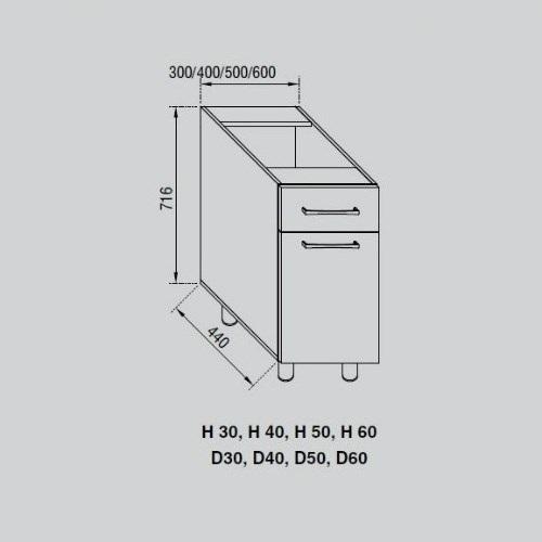 Кухонный модуль Адель Н 30