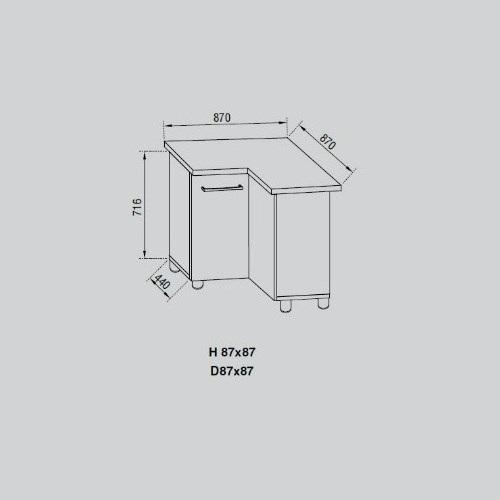 Кухонный модуль Адель Н 87х87